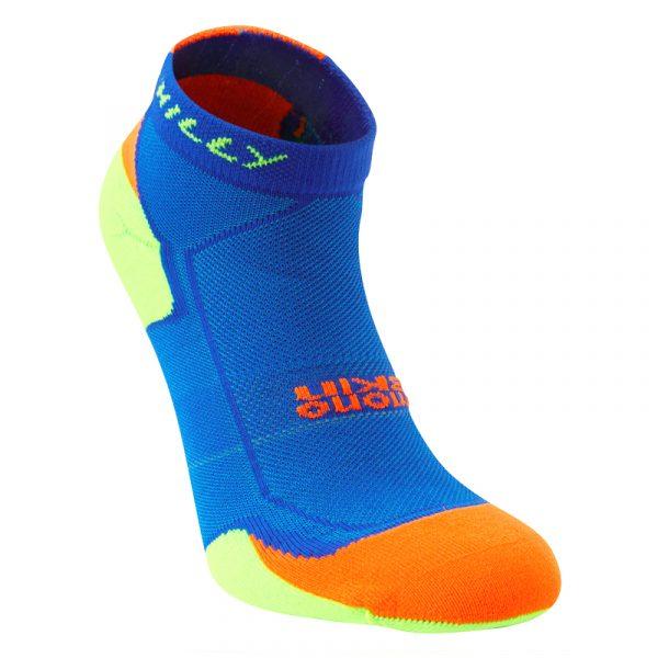 Hilly Lite-Cushion Quarter Men's Running Sock - S, Cobalt/Fluo Orange/Fluo Green Studio Shot