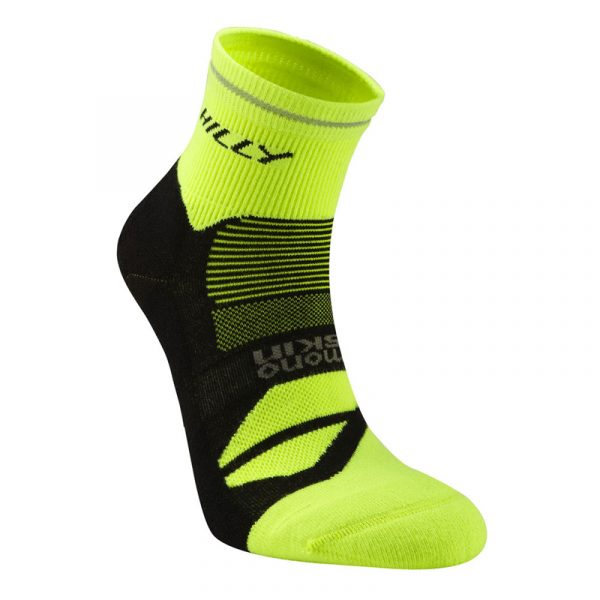 Hilly Photon Anklet Running Sock - Black/Yellow Studio Shot