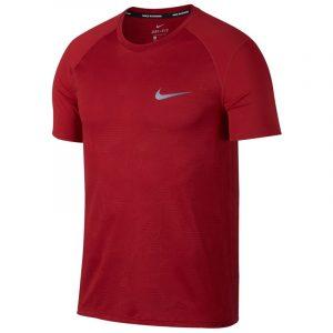 Nike Miler Short Sleeve Men's Running Tee Red Front