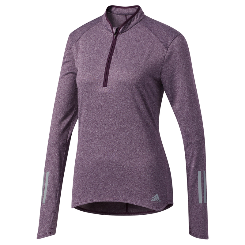 adidas Women's Response Half Zip Long Sleeve Running Tee Front