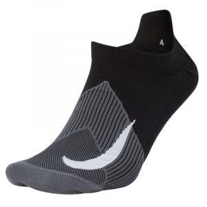 Nike Elite Lightweight No-Show Unisex Running Sock black grey front