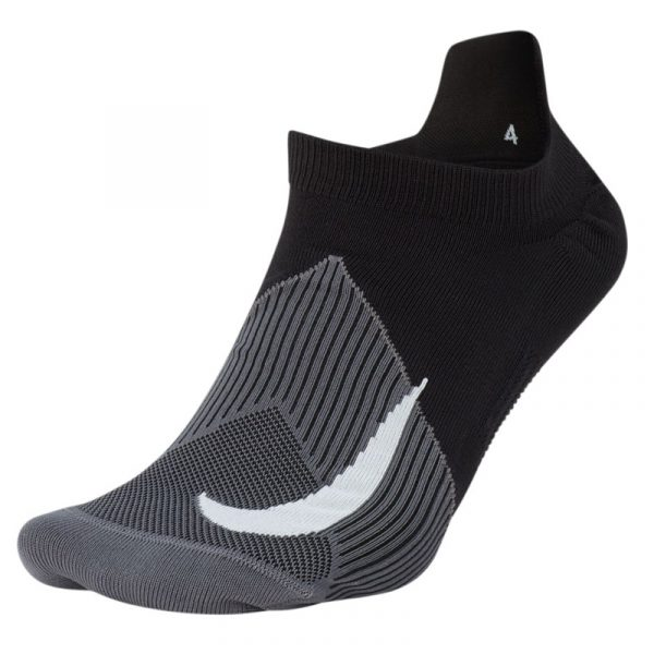 Nike Elite Lightweight No-Show Unisex Running Sock black grey front