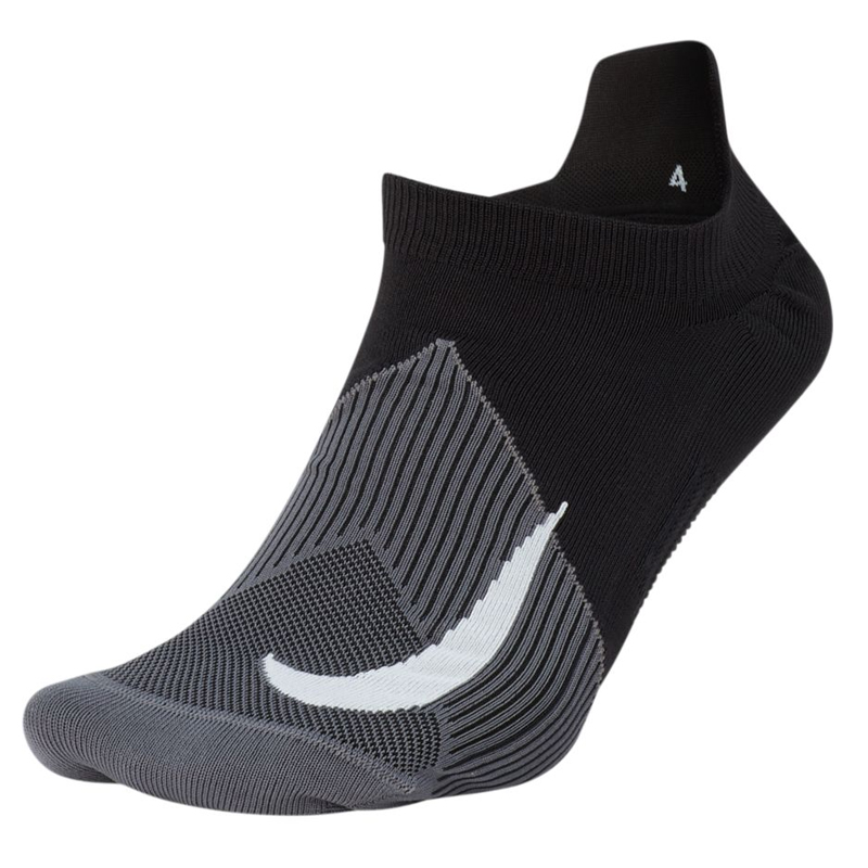 147c69abfdf3a Nike Elite Lightweight No-Show Unisex Running Sock black grey front
