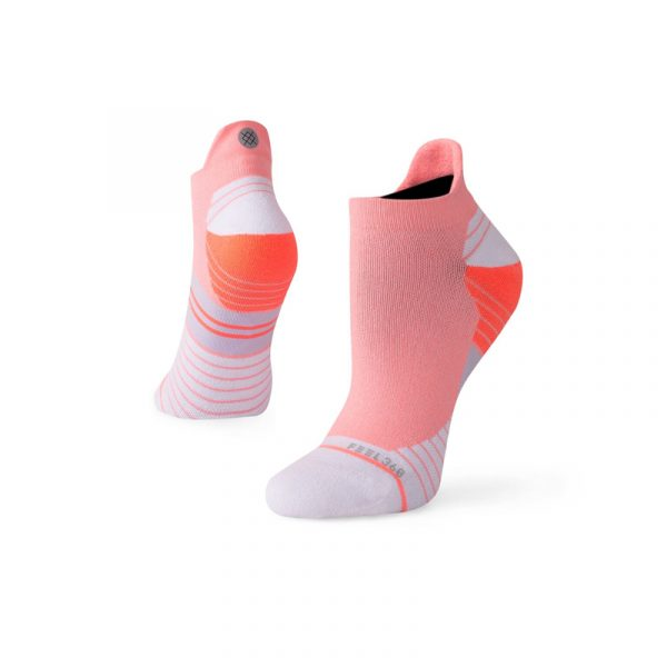 Stance Shiny Camo Tab Pink/White Women's Running Sock Side and Back View