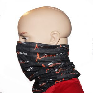 The Running Outlet Neck Gaiter Bandanna On Dummy Side View Bottom