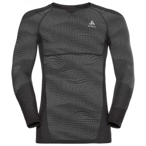 Odlo Mens SUW Long Sleeved Top Black Front View