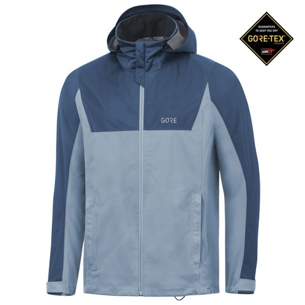 Gore Wear Gore-Tex Active Men's Hooded Running Jacket Front View with Gore-Tex Logo