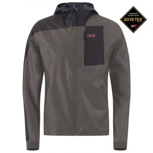 Gore Wear Gore-Tex Shakedry Men's Hooded Running Jacket Front View with Gore-Tex Logo
