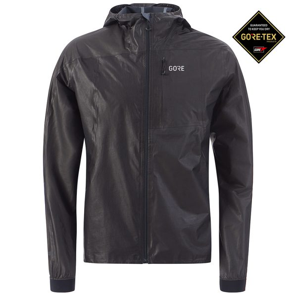 Gore Wear Men's Gore-Tex Shakedry Hooded Running Jacket Front View with Gore-tex logo