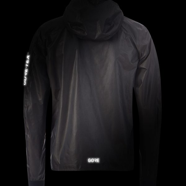 Gore Wear Men's Gore-Tex Shakedry Hooded Running Jacket Front View with Flash logo