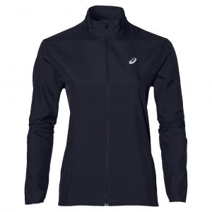 Asics Silver Women's Running Jacket Front View