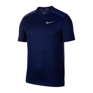 Nike Miler Short Sleeve Men's Running Tee- Blue Void/Indigo Force/Reflective Silver Front View