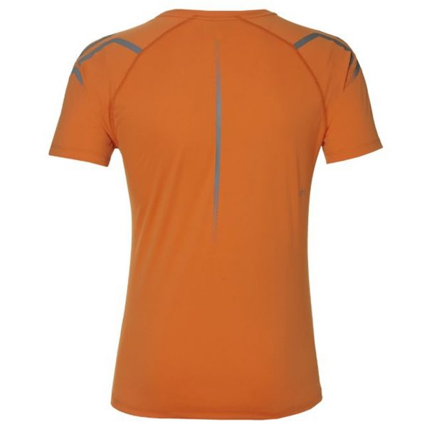 Asics Icon Short Sleeve Men's Running Top - Orange/Mist Grey Back View