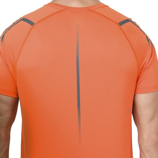 Asics Icon Short Sleeve Men's Running Top - Orange/Mist Grey Detail View