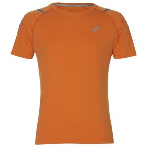 Asics Icon Short Sleeve Men's Running Top - Orange/Mist Grey Front View