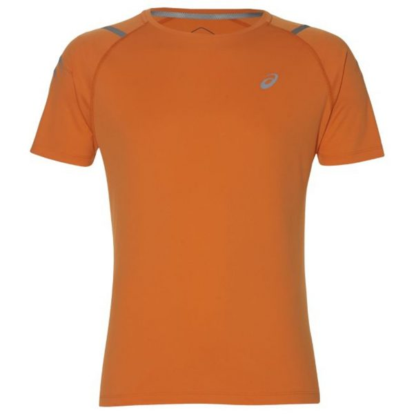 Asics Icon Short Sleeve Men's Running Top - Orange/Mist Grey Front View