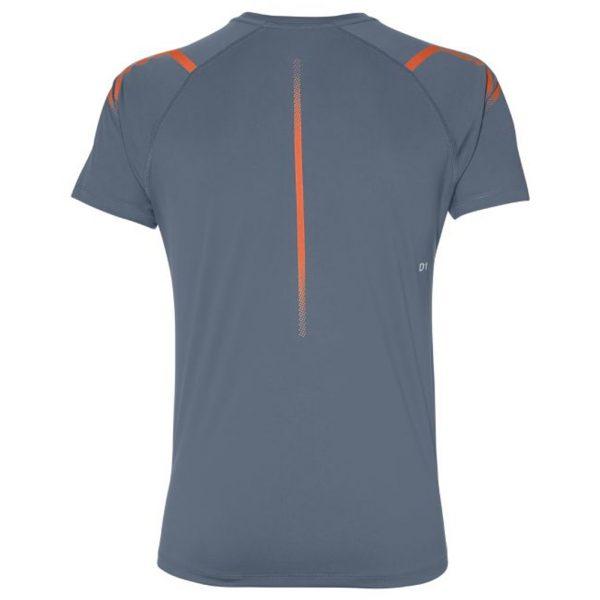 Asics Icon Short Sleeve Men's Running Top - Steel Blue/Nova Orange Back View