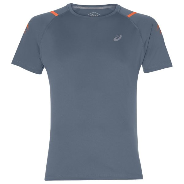 Asics Icon Short Sleeve Men's Running Top - Steel Blue/Nova Orange Front View