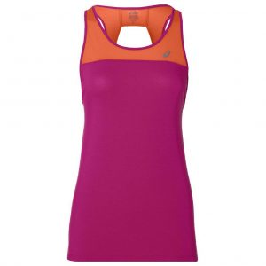 Asics Loose Strappy Women's Running Tank - Pink Rave/Nova Orange Front View
