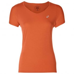 Asics V-Neck Short Sleeve Women's Running Tee orange front