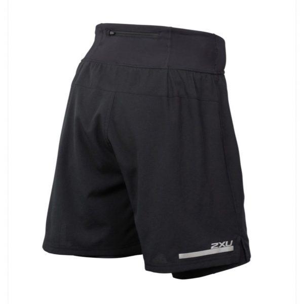 2XU Run 2in1 Men's Compression Short - Black/Black Back View