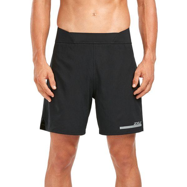 2XU Run 2in1 Men's Compression Short - Black/Black Model Front View