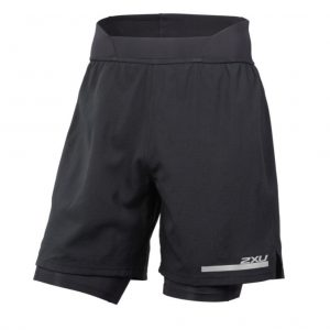 2XU Run 2in1 Men's Compression Short - Black-Black Front View