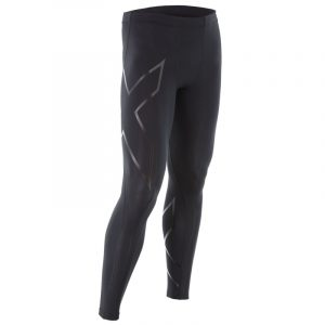 2XU Men's Compression Tight - Black-Silver Front View