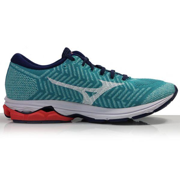 Mizuno Waveknit R2 Women's Running Shoe - Pblue/White/Hot Coral back
