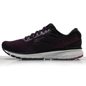 Brooks Ghost 12 Women's Running Shoe - Black/Hollyhock/Pink Side
