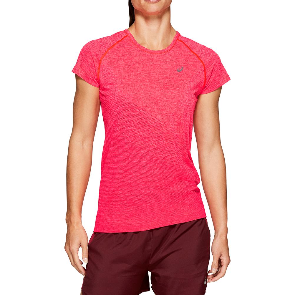 Asics Seamless Texture Short Sleeve Women's Running Top - Laser Pink