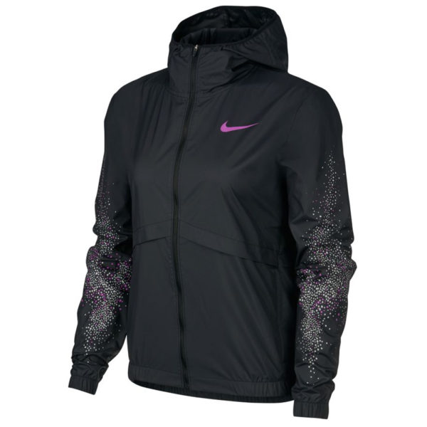 Nike Essential Women's Running Jacket - Black/Vivid Purple Front