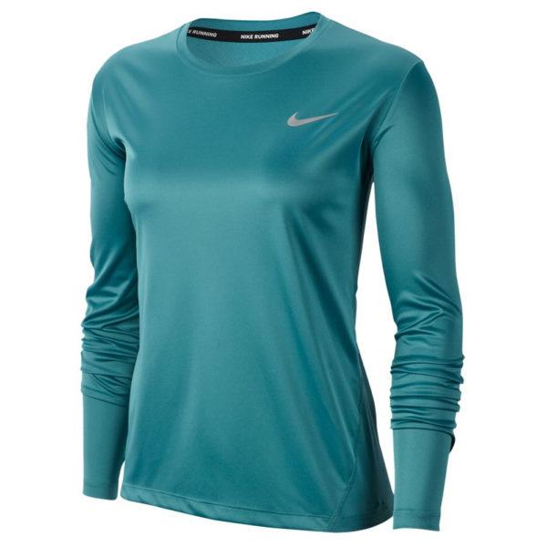 Nike Miler Long Sleeve Women's Running Tee mineral teal front
