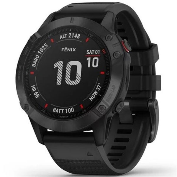 Garmin Fenix 6X Pro GPS Running Watch black front