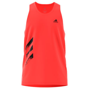 adidas Own the Run 3-Stripes PB singlet solar red front