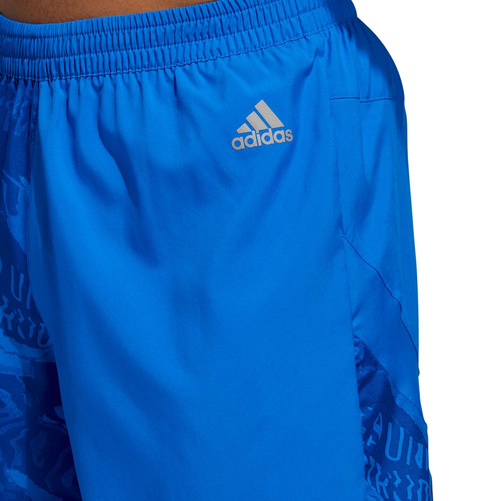 adidas Mens Supernova 5 Inch Running Short Blue Sports Reflective Zip Pocket
