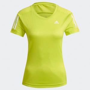adidas Own The Run Short Sleeve Women's acid yellow front
