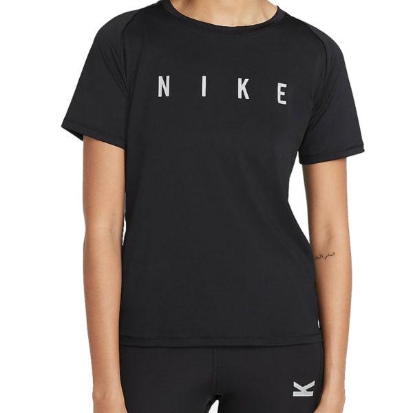 Nike Miler Run Division Short Sleeve Women's black front