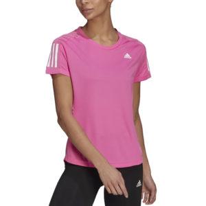 adidas Own The Run Short Sleeve Women's scream pink front