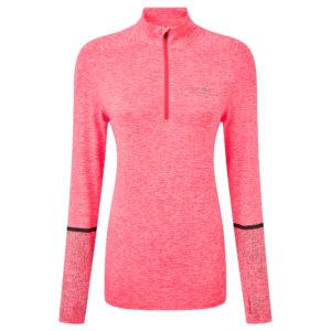 Ronhill Life Night Runner Halfzip Long Sleeve Women's Running Top hot pink front